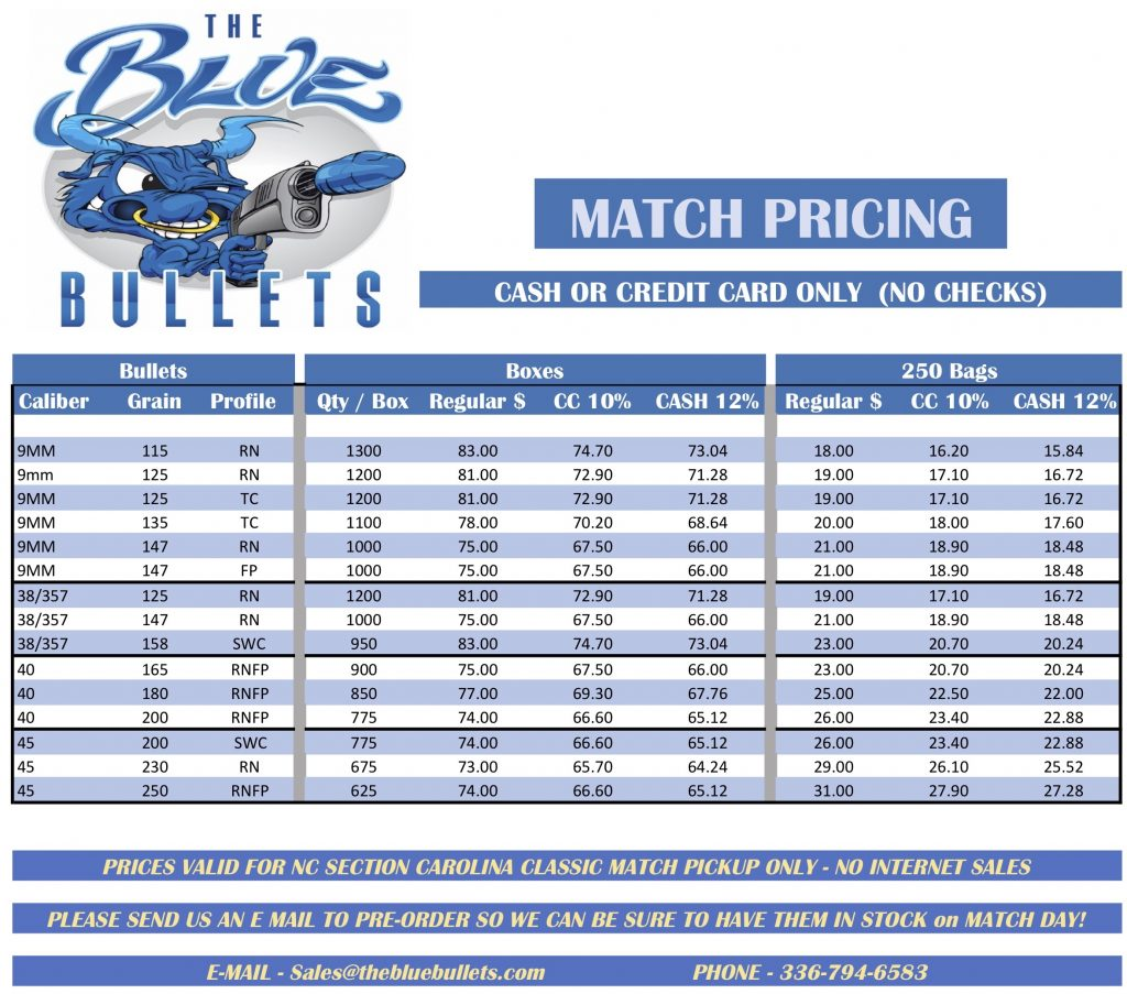 Blue Bullets 2019 Carolina Classic Special Match Pricing
